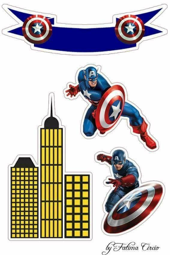 Captain america printable. Free cake and cupcake