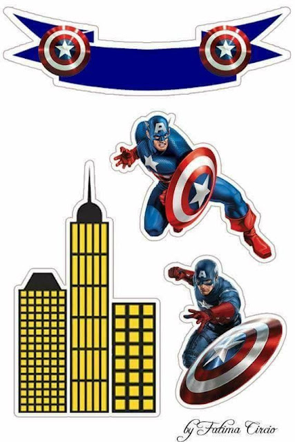Captain America: Free Printable Cake and Cupcake Toppers.