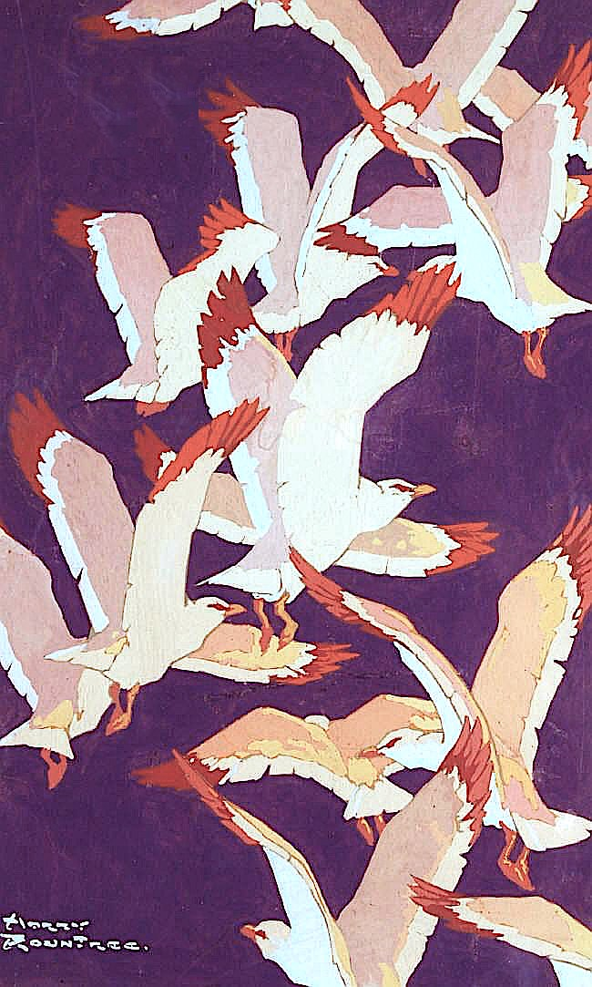 a Harry Rountree color illustration of a rising flock of birds