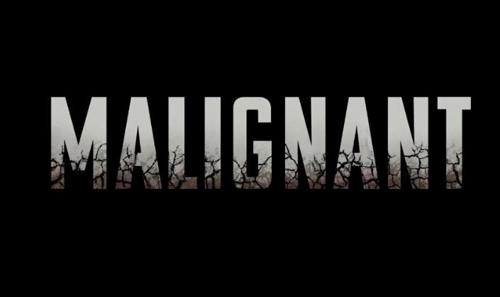 Imagem: fundo preto com o título em inglês do filme em fonte branca: Malignant, e em que as pontas das letras na parte de baixo estão rachadas e escurecendo.