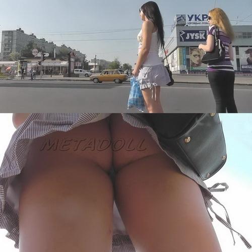 Sexy college girls - Spycam upskirt of girls on the bus stop. Hidden camera upskirts in subway (100Upskirt 5107-5180)