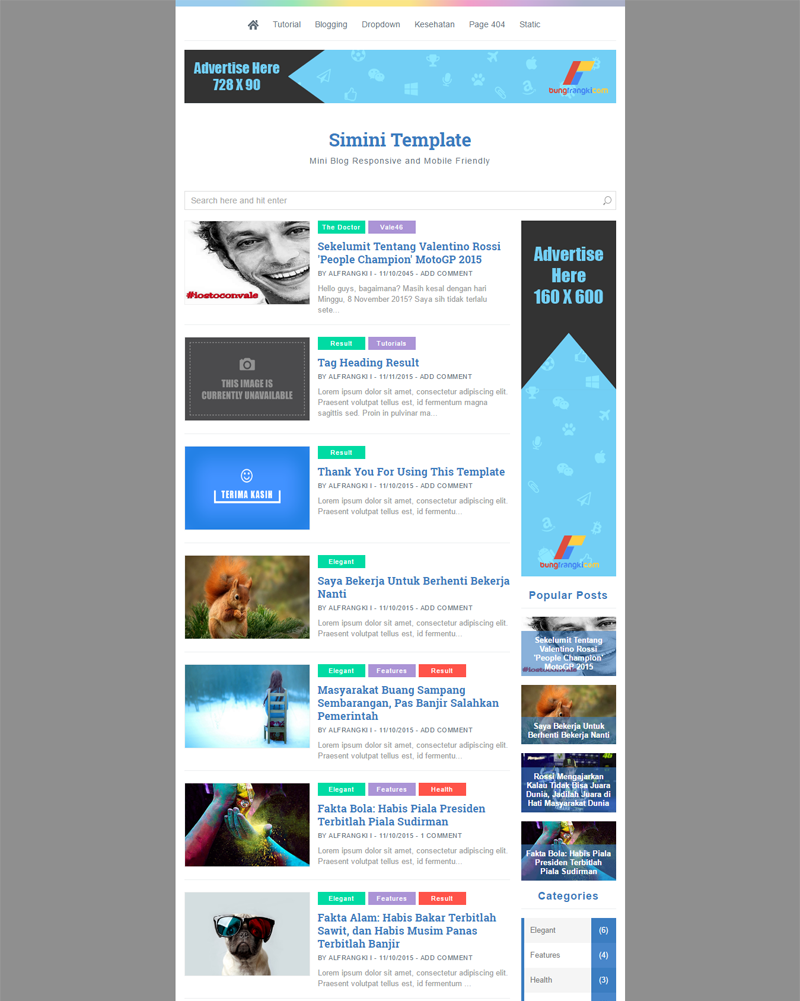 Simini-v1 Template Fastest and SEO Friendly Blogger Template