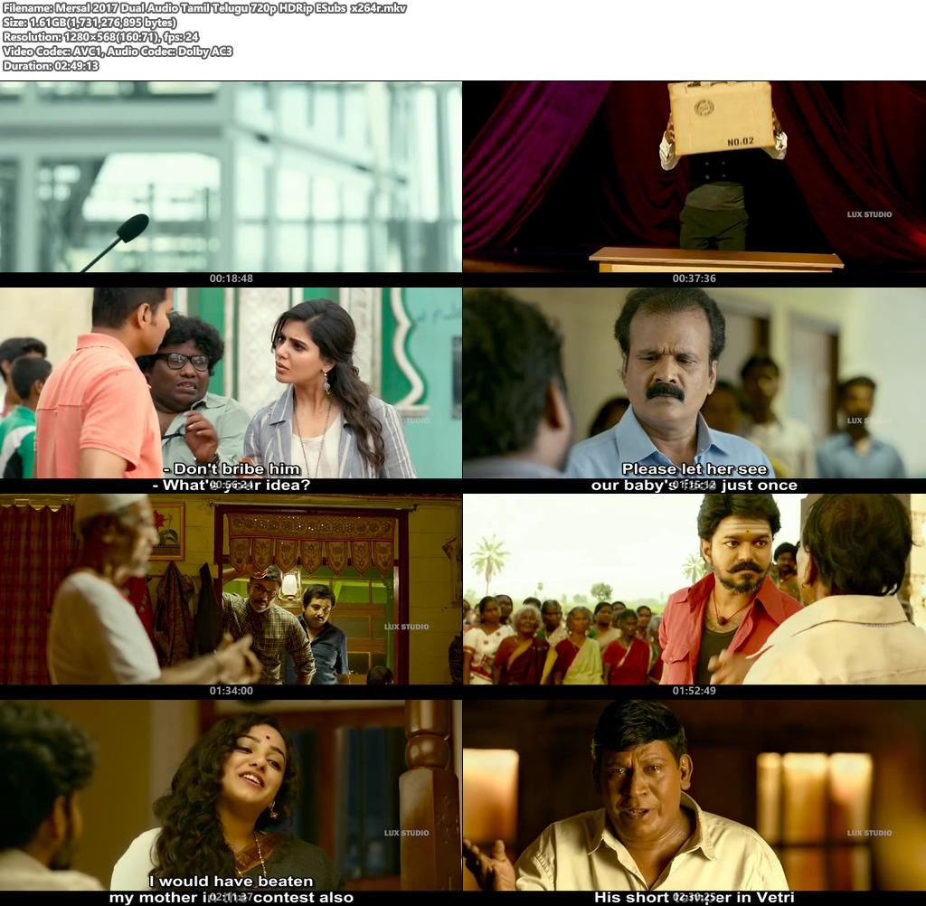 Mersal 2017 Dual Audio Tamil Telugu 720p HDRip ESubs x264r | 480p 300MB | 100MB HEVC Screenshot