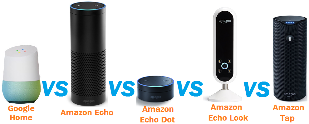 Difference between Google Home, Amazon Echo, Echo Dot, Echo Look, Tap and Bose