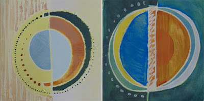 greenbook pages 6-7 circles, painting, drawing, colourful, blue yellow ochre