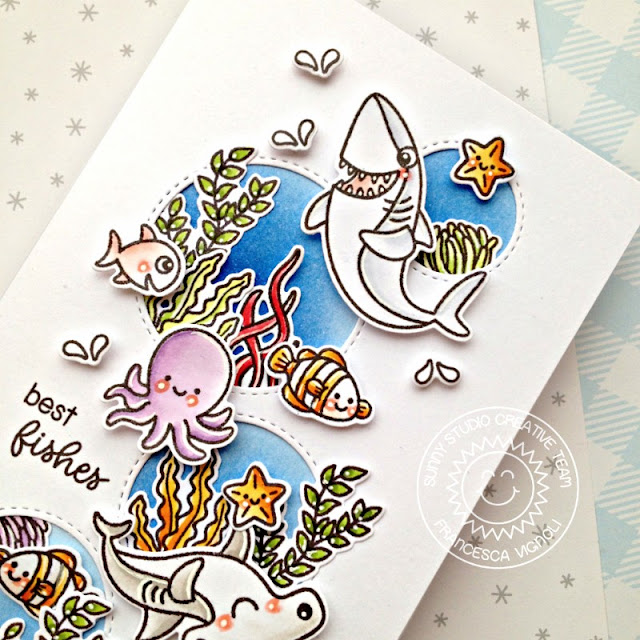 Sunny Studio Stamps: Sea You Soon Best Fishes Staggered Circle Dies Everyday Cards by Franci Vignoli