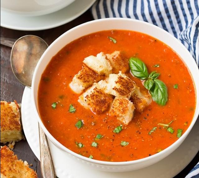 Creamy Tomato Basil Soup #dinner #soup