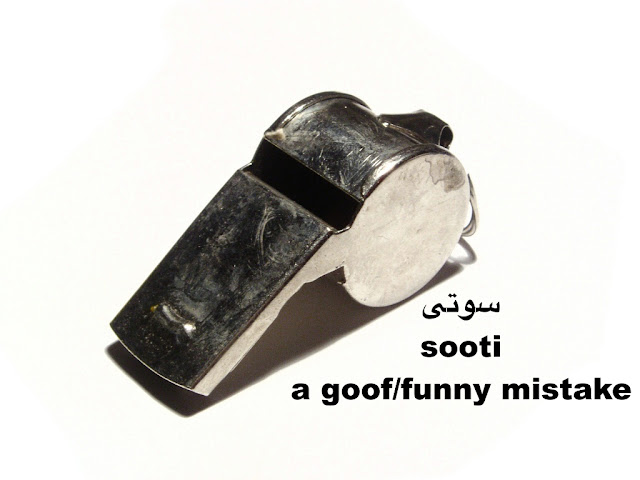 Sooti is slang for a goof or funny mistake in Persian Farsi language