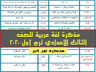 مذكرة لغة عربية للصف الثالث الإعدادي ترم أول 2020