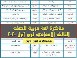 مذكرة لغة عربية للصف الثالث الإعدادي الترم الأول 2021 س و ج