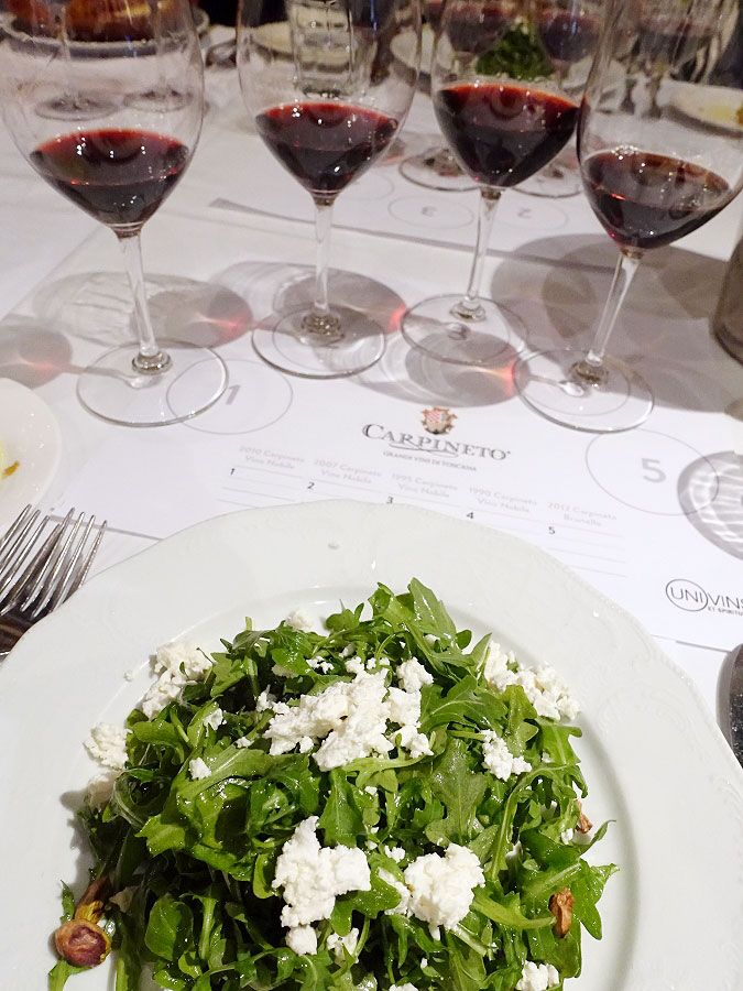 Arugula Salad with Feta and Crostini paired with Carpineto Wines