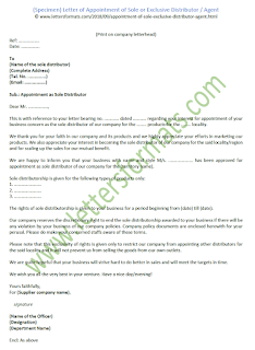 Letter of Appointment of Sole or Exclusive Distributor / Agent - Sample