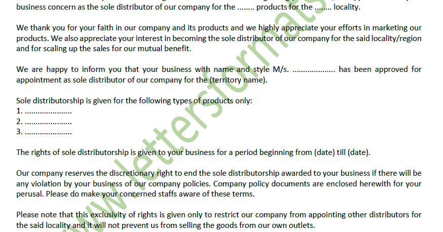 Letter Of Appointment Of Sole Or Exclusive Distributor Agent Sample
