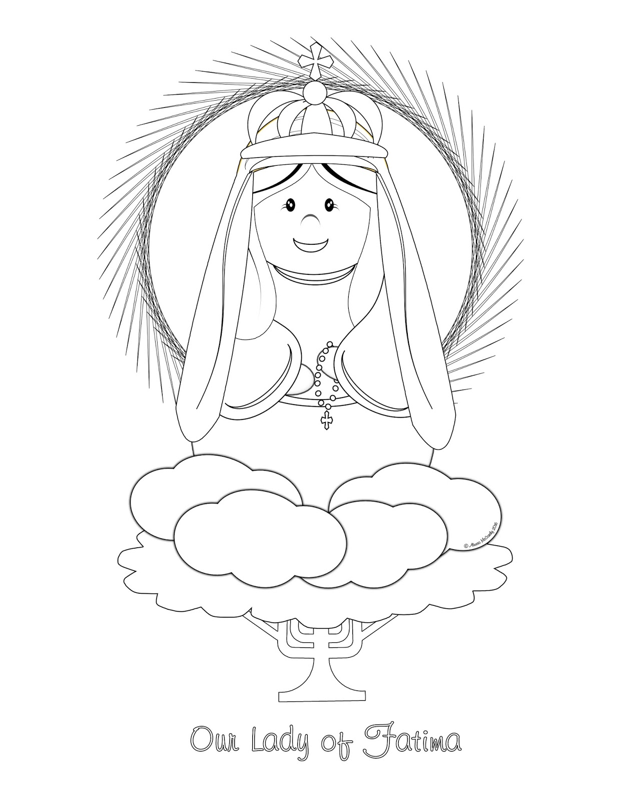 here is a cute coloring page of our lady of fatima for your little ones to enjoy