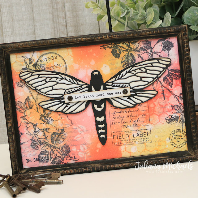 Let Light Lead the Way Framed Panel by Juliana Michaels featuring the Tim Holtz Sizzix Chapter 3 Perspective Moth.