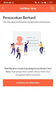 Bukti Akun Aplikasi Flip sedang Proses Verifikasi