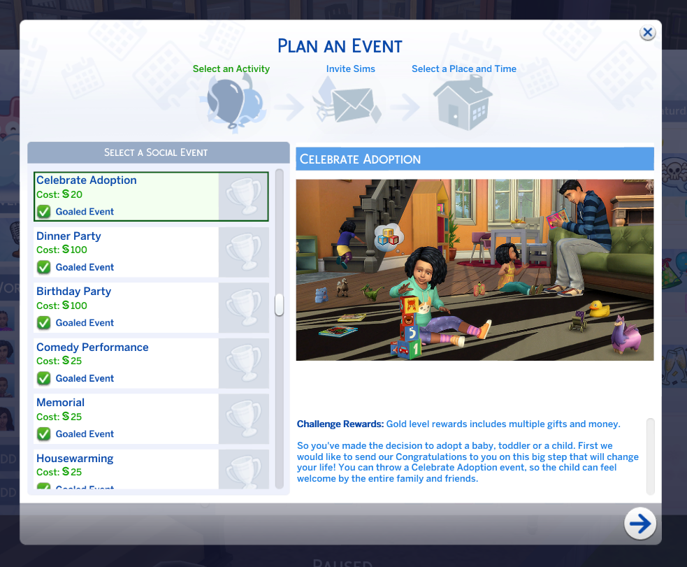 The sims 4: Event - celebration of adoption