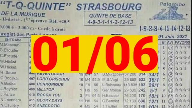 programme quinté+ Pronostic quinté+ Mardi 01/06/2021