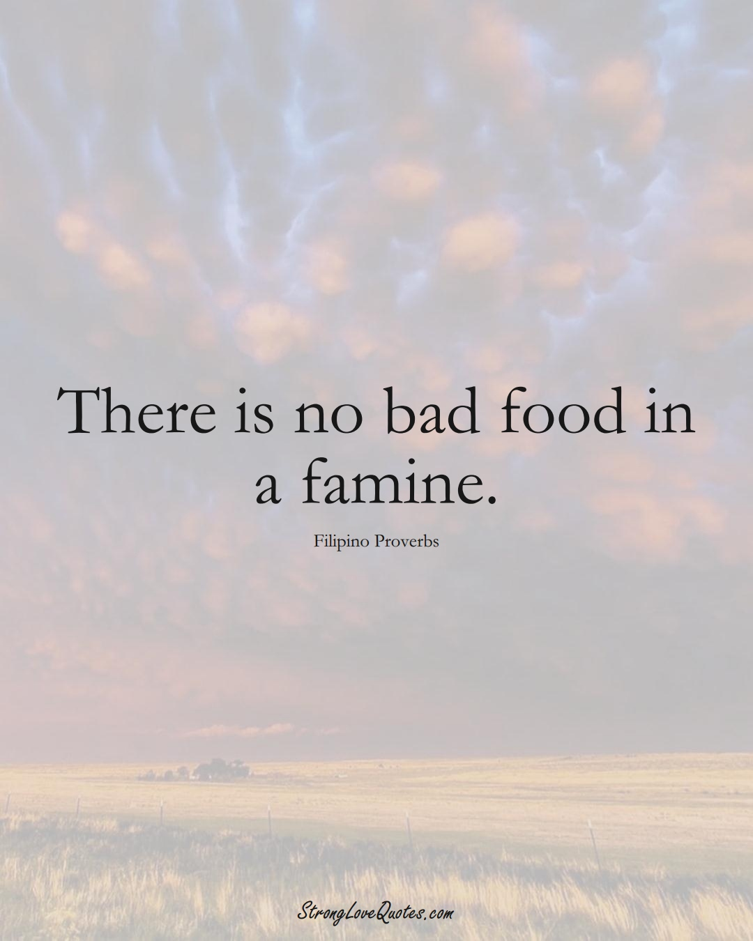 There is no bad food in a famine. (Filipino Sayings);  #AsianSayings