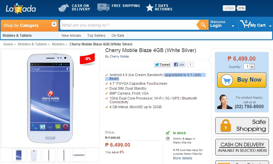 Cherry Mobile BLAZE at Lazada Philippines