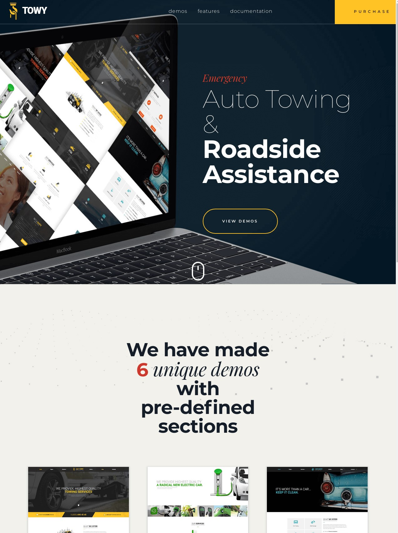 Towy  Emergency Auto Towing and Roadside Assistance Service WordPress theme