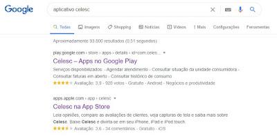 imagem do Resultado da busca por aplicativo Selesc no Google