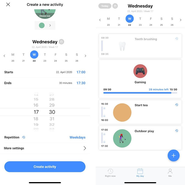 example of daily schedule from within Tiimo app