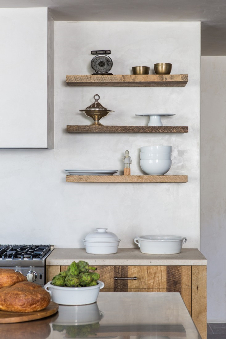 """The countertops are Massangis French Limestone and the floor is Pierre de Marly French Limestone both from Impression, in Torrance, California: """"I love the color. To me, there was no other choice, if I could afford it. Tile in general is so cold, but natural stone is warm and rugged."""""""