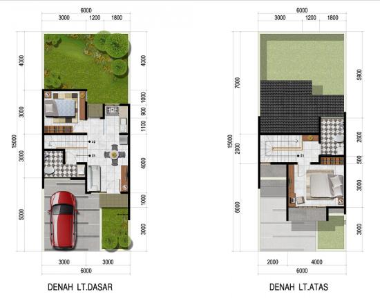 Denah rumah luas 62 m2 2 lantai 2 kamar tidur