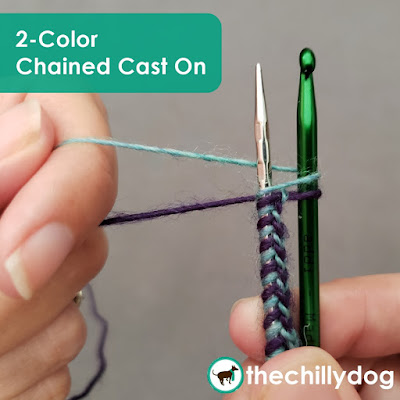 How to do the two-color chained cast on for double knit colorwork