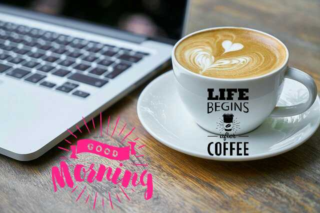 beautiful Good Morrning image with coffee cup life begins with coffee