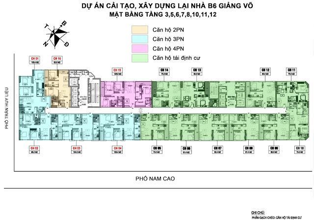 Mặt bằng thiết kế tầng 3-12 B6 Giảng Võ