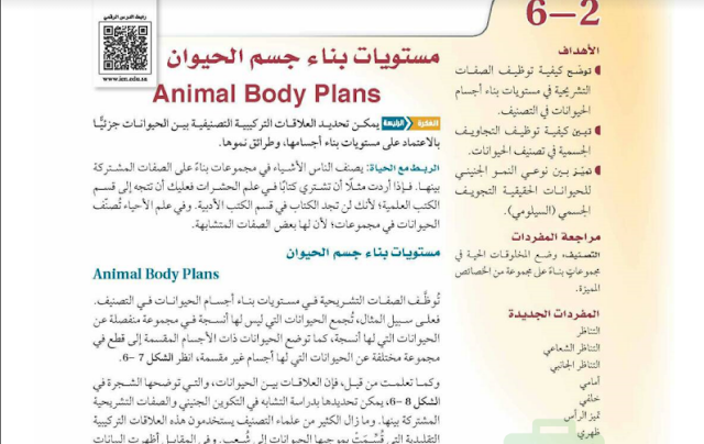 حل درس مستويات بناء جسم الحيوان للصف الاول ثانوي