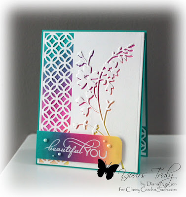 Diana Nguyen, Impression Obsession, border cutout, Memory box, honey blossom sprig, Verve