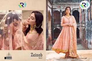 R9 Designer Zainab vol 2 Satin Cotton Pakistani Suits In Wholesale
