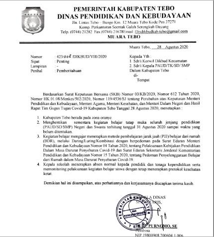 Beredar Surat Edaran Disdikbud Kabupaten Tebo Kembali Lakukan Belajar Dari Rumah Tebo Top