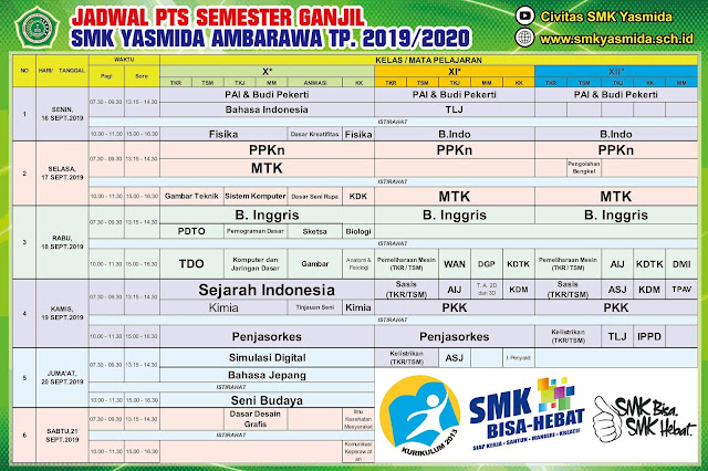 Desain Banner Jadwal PTS Ganjil SMK Yasmida