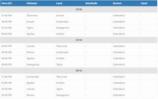 Calendario primera semana LVBP 2018-19. Calendario de Béisbol Profesional Venezolano 2018-2019 LVBP. Calendario completo con las Transmisiones televisivas del Béisbol Profesional venezolano 2018-2019 LVBP.