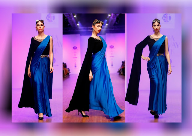black blue drape saree