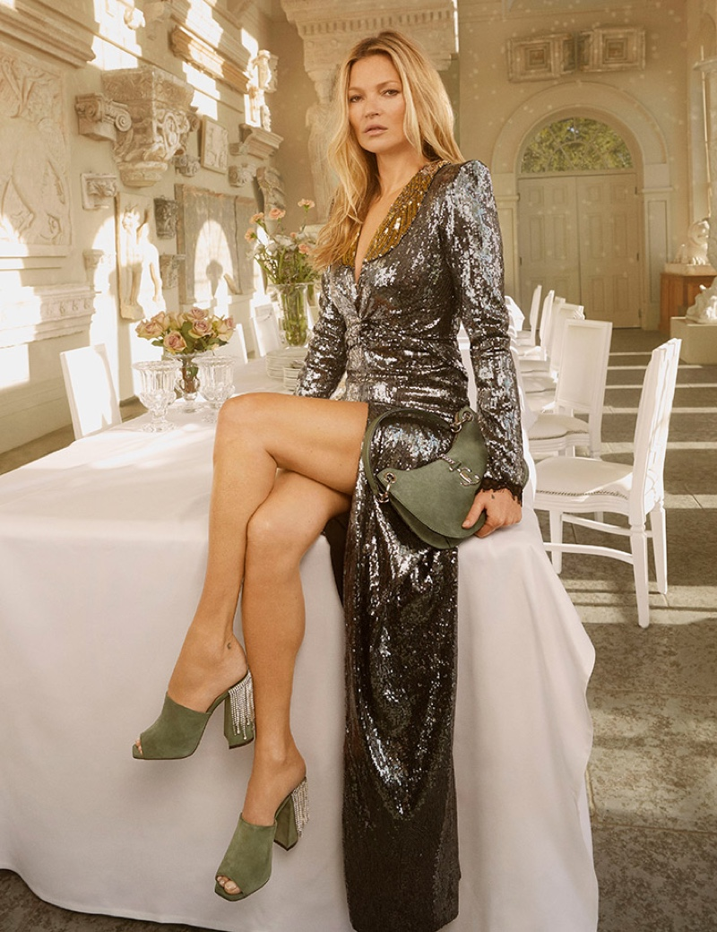 Supermodel wears Jimmy Choo Baia sandals in the brand's pre-fall 2020 campaign.