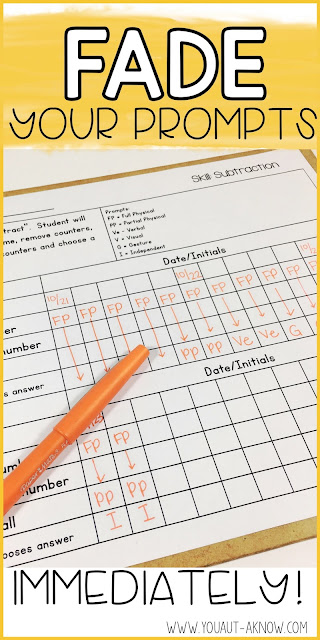 The key to teaching through Task Analysis is fading your prompts IMMEDIATELY.
