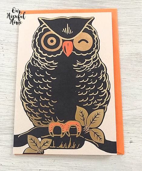 black gold orage owl Dollar Tree Halloween greeting card