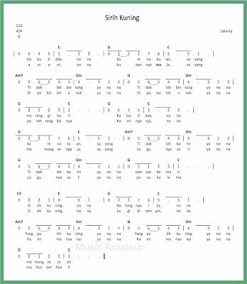 not angka lagu sirih kuning jakarta