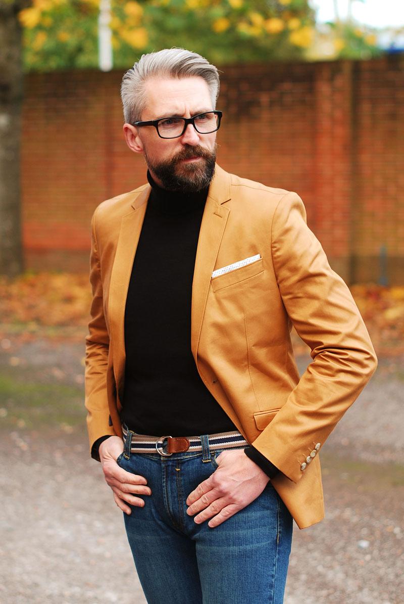 Menswear: Camel blazer, black roll neck and jeans