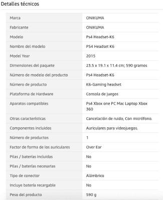 Características auriculares Onikuma