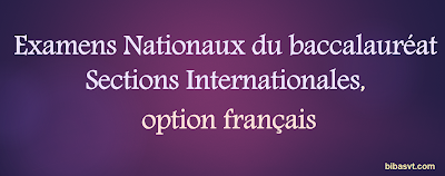 Examens Nationaux du baccalauréat Sections Internationales, option français avec la correction
