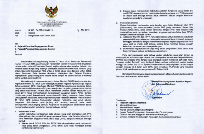 Menteri PARNB Terbitkan Surat Pengadaan ASN Tahun 2019