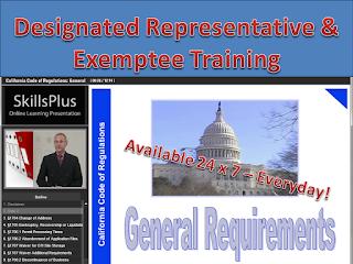 California Designated Representative Training and Exemptee Certification Training
