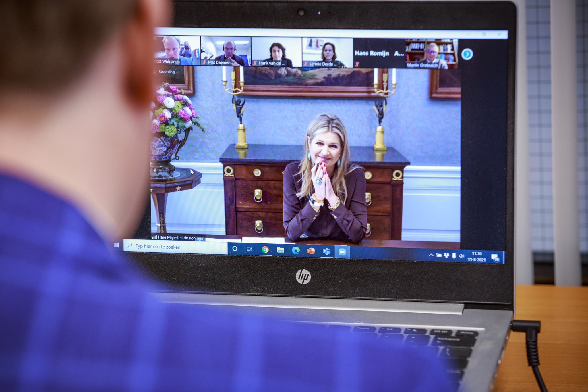 Queen Máxima attended a virtual meeting with Amsterdam UMC. During the meeting Máxima was updated by doctors and scientists about the most recent developments in COVID-19 research.
