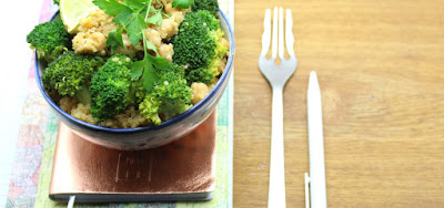 Easy Broccoli Salad with Chickpeas and Quinoa